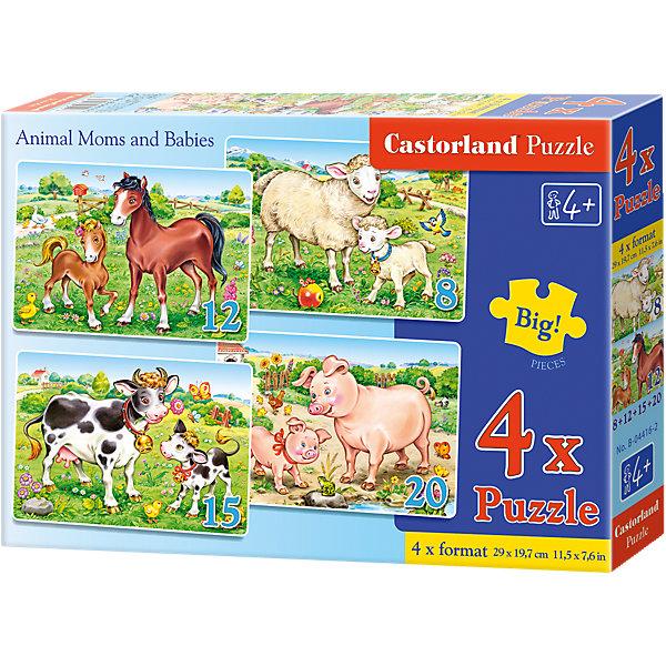 Пазлы Домашние животные, 8*12*15*20 деталей, CastorlandПазлы для малышей<br>Пазлы Домашние животные, 8*12*15*20 деталей, Castorland (Касторленд) - это увлекательные пазлы для самых маленьких.<br>В наборе 4 картинки с изображением домашних животных и их детенышей, которые пасутся на лугу. Картинки отличаются тем, что состоят из разного количества деталей: 8, 12, 15 или 20. Пазлы имеют разный размер элементов. Ребенок может начинать собирать картинку с крупными элементами, а затем, постепенно увеличивая сложность, собирать пазлы с большим количеством элементов меньшего размера. Собирая пазлы, малыш сможет не только увлекательно провести время, но и развить образное и логическое мышление, наблюдательность, мелкую моторику и координацию движений рук. Пазлы выполнены из плотного картона, детали красочные и легко соединяются.<br><br>Дополнительная информация:<br><br>- Изображение: лошадка с жеребенком, овечка с ягненком, корова с теленком, свинка с поросенком<br>- Количество деталей: 8, 12, 15, 20<br>- Размер картинок: 29 ? 19,7 см.<br>- Материал: плотный картон<br>- Упаковка: картонная коробка<br>- Размер коробки: 24,5 ? 3,7 ? 17,5 см.<br>- Вес: 150 гр.<br><br>Пазлы Домашние животные, 8*12*15*20 деталей, Castorland (Касторленд) можно купить в нашем интернет-магазине.
