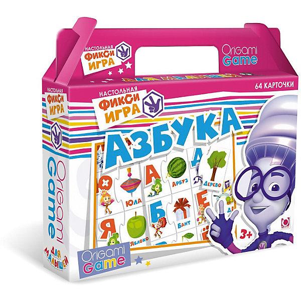 Игра «Азбука», ФиксикиКасса букв<br>Настольная игра по мотивам мультфильма Фиксики. Вместе с веселыми Фиксиками Ваш ребенок научится азбуке! Каждой букве соответствует яркое изображение. Все карточки снабжены пазловыми замками и это очень удобно, ведь если во время игры кто-то ошибется, замочки обязательно напомнят об этом. Игра обязательно понравится вашему ребенку, веселые Фиксики помогут ему легко и быстро выучить буквы, развить мелкую моторику, мышление, внимание.  <br><br>Дополнительная информация:<br><br>- Материал: картон.<br>- Комплектация: чемоданчике с ручкой, 64 карточки с пазловыми замками. <br><br>Игру  «Азбука» Фиксики, Оригами можно купить в нашем магазине.<br>Ширина мм: 220; Глубина мм: 200; Высота мм: 50; Вес г: 175; Возраст от месяцев: 36; Возраст до месяцев: 84; Пол: Унисекс; Возраст: Детский; SKU: 3905877;