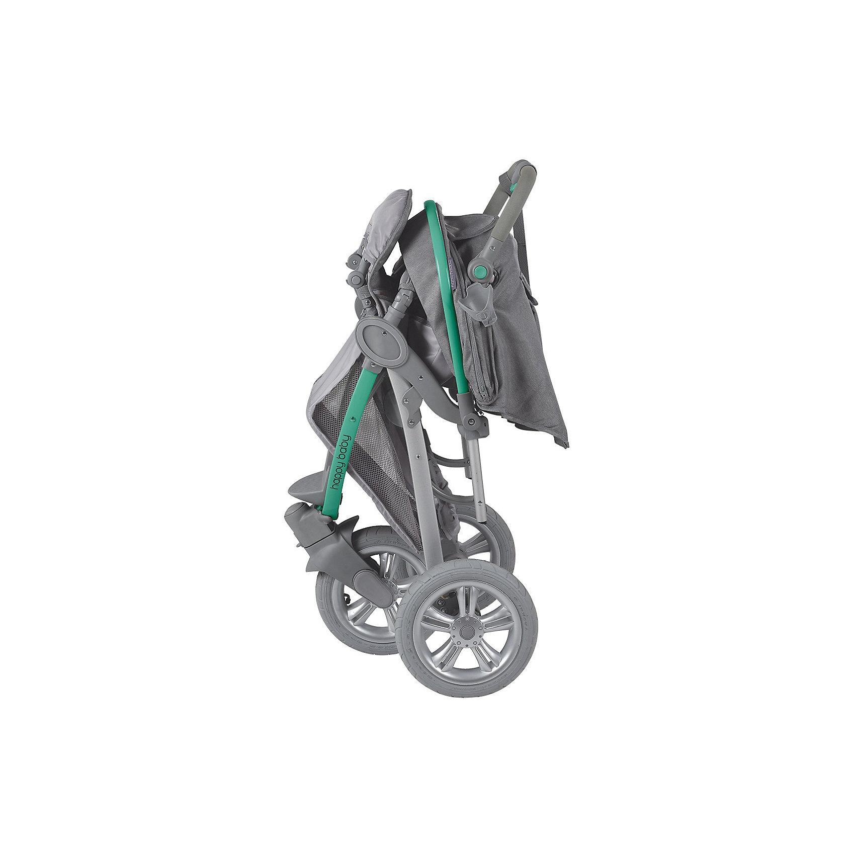 Прогулочная коляска Neon Sport, Happy Baby, серый/жёлтый