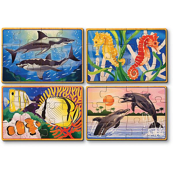 Деревянные пазлы Подводная жизнь, 4х12, Melissa &amp; DougПазлы для малышей<br>Пазлы - отличная игра! Они активно развивают пространственно-образное мышление и мелкую моторику, учат составлять целое из нескольких частей, активизируют логику и воображение. Деревянные пазлы Подводная жизнь от ведущего мирового производителя детских игрушек - компании Melissa &amp; Doug обладают следующими особенностями:<br>- экологически чистые материалы, приятные на ощупь, безопасные красители;<br>- яркие цвета;<br>- 4 изображения: тропические рыбки, дельфины, акулы и морские коньки; <br>- каждая картинка состоит из 12 частей и обладает своей уникальной кодировкой на обратной стороне, что существенно облегчает сортировку;<br>- прочный деревянный ящик с 4 отсеками - для каждого подводного жителя свой.<br>Замечательная игра для детей и взрослых!<br><br>Дополнительная информация:<br>- Вес: 453 гр;<br>- Габариты: 140х190х60 мм;<br>- Рекомендуемый возраст: от 1 года с участием взрослых. <br><br>Деревянные пазлы Подводная жизнь Melissa &amp; Doug можно купить в нашем магазине<br>Ширина мм: 140; Глубина мм: 190; Высота мм: 60; Вес г: 453; Возраст от месяцев: 36; Возраст до месяцев: 72; Пол: Унисекс; Возраст: Детский; Количество деталей: 12; SKU: 3927706;