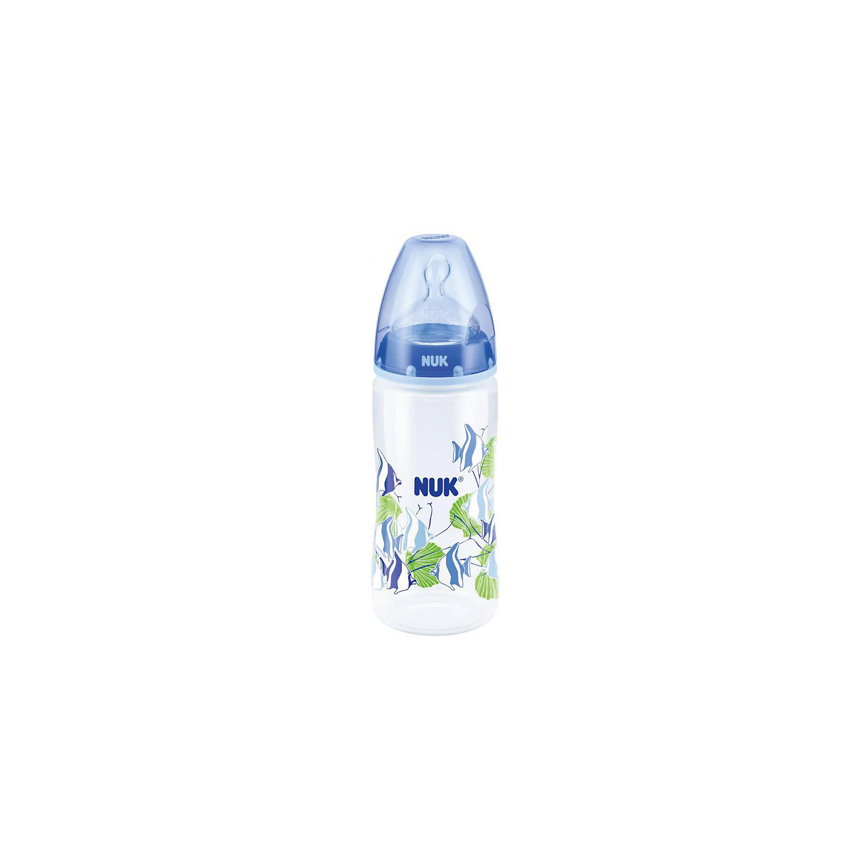 Бутылочка First Choice  пласт. (ПП) 300 мл. разноцв.+ соска с вент. из сил. р1, NUK