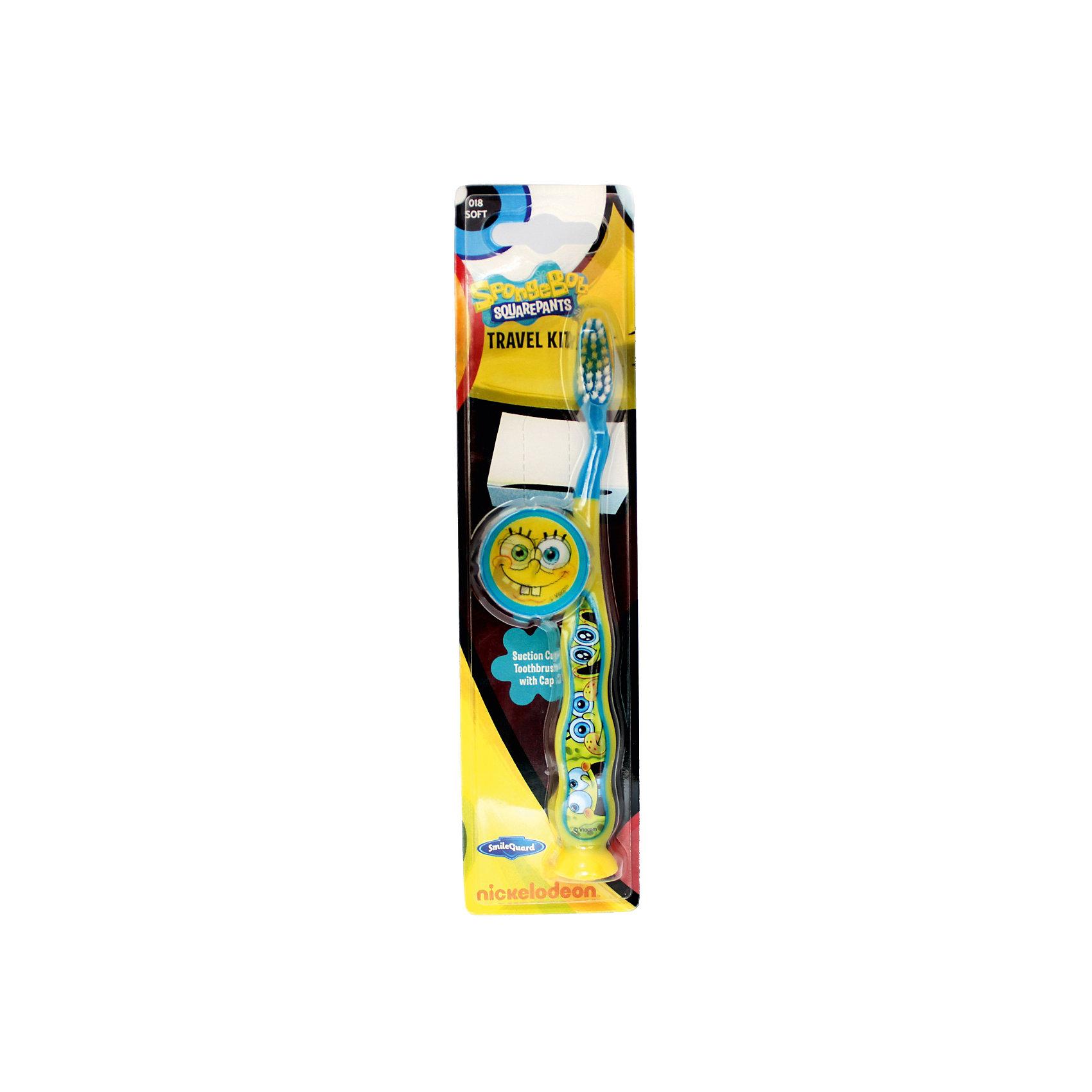 Зубная щетка Sponge Bob, дорожная с защитным чехлом на присоске, Firefly