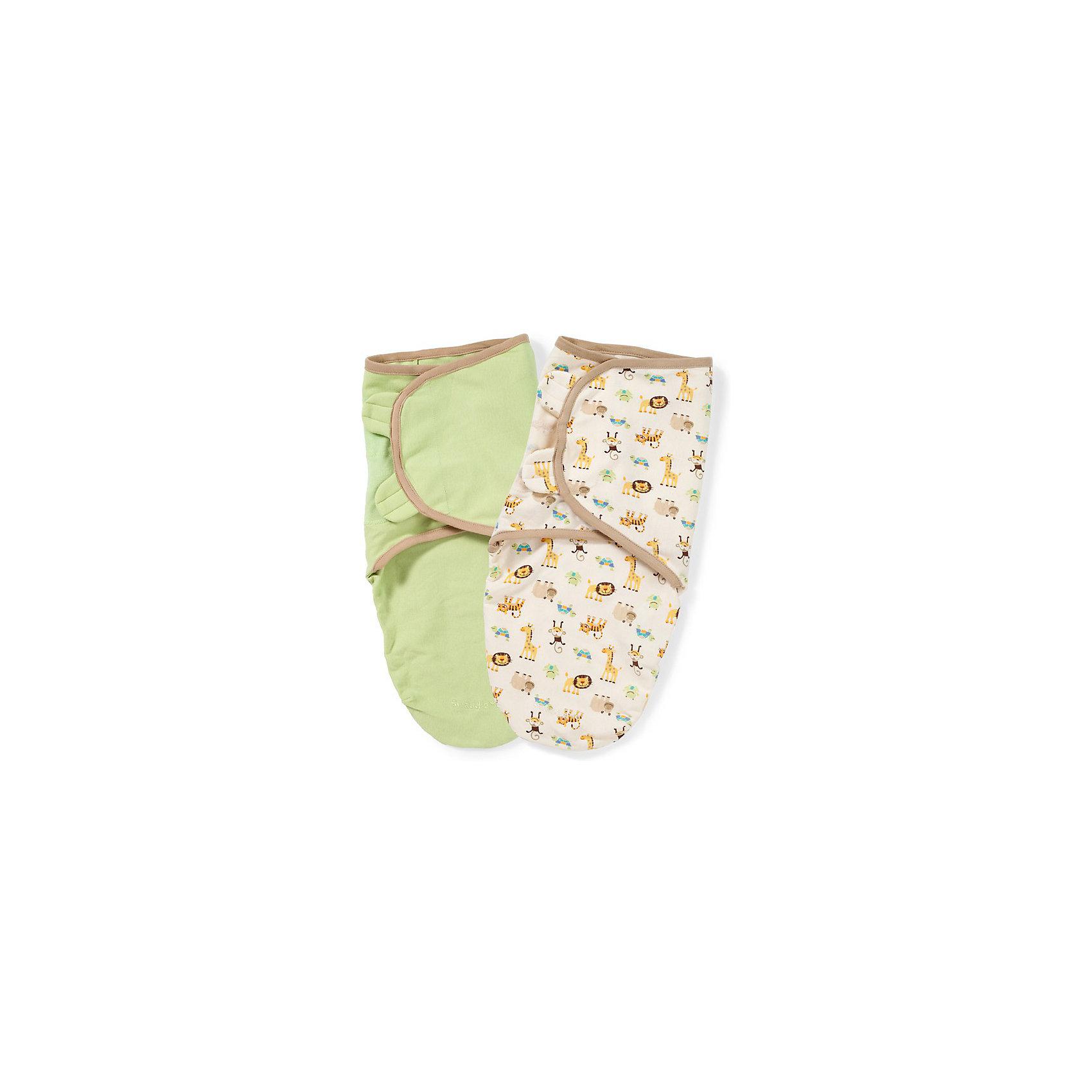 Конверт для пеленания на липучке SWADDLEME ORGANIC, р-р S/M, 3-6 кг., 2 штуки, зеленый/джунгли