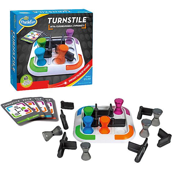 Игра Турникет, ThinkFunНастольные игры для всей семьи<br>Эта увлекательная  игра обязательно понравится вашему ребенку и разнообразит его досуг.  Ее можно брать с собой куда угодно и весело играть вместе с друзьями. Принцип игры: надо переместить все цветные фигурки в углы игрового поля, в соответствии с их цветом. Карточки содержат задания четырех уровней сложности. На обратных сторонах у них приведены решения соответствующих заданий. Выберите карточку с заданием и расположите фигурки на игровом поле в соответствии со схемой, представленной на карточке. Игрок может перемещать любую фигурку, стараясь привести её в свой угол игрового поля (в соответствии с цветом фишки), вращая при этом турникеты. <br>Игра прекрасно развивает внимание, мышление, память, в нее можно играть, как одному, так и с компанией. <br><br>Дополнительная информация:<br><br>- Комплектация: игровое поле - 1 шт,  фишки цветные - 4 шт, фишки серые - 4 шт, турникеты различной конфигурации - 10, карточки с заданиями - 40 шт, фирменный мешочек, инструкция.<br>- Материал: картон, пластик<br>- Размер игрового поля: 17 х 17 см. <br>- Размер фишки: 4,5 см. <br><br>Игру Турникет, ThinkFun можно купить в нашем магазине.<br>Ширина мм: 225; Глубина мм: 64; Высота мм: 203; Вес г: 610; Возраст от месяцев: 96; Возраст до месяцев: 2147483647; Пол: Унисекс; Возраст: Детский; SKU: 3972649;