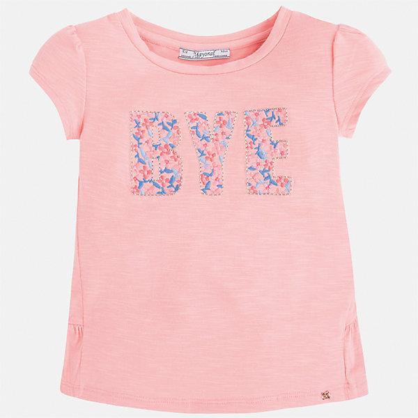 Футболка для девочки MayoralФутболки, поло и топы<br>Характеристики товара:<br><br>• цвет: розовый<br>• состав: 68% полиэстер, 28% вискоза, 4% эластан<br>• сложный крой<br>• декорирована принтом<br>• короткие рукава<br>• страна бренда: Испания<br><br>Модная оригинальная футболка для девочки поможет разнообразить гардероб ребенка и украсить наряд. Она отлично сочетается и с юбками, и с шортами, и с брюками. Универсальный цвет позволяет подобрать к вещи низ практически любой расцветки. Интересная отделка модели делает её нарядной и оригинальной. В составе материала - натуральный хлопок, гипоаллергенный, приятный на ощупь, дышащий.<br><br>Одежда, обувь и аксессуары от испанского бренда Mayoral полюбились детям и взрослым по всему миру. Модели этой марки - стильные и удобные. Для их производства используются только безопасные, качественные материалы и фурнитура. Порадуйте ребенка модными и красивыми вещами от Mayoral! <br><br>Футболку для девочки от испанского бренда Mayoral (Майорал) можно купить в нашем интернет-магазине.<br>Ширина мм: 199; Глубина мм: 10; Высота мм: 161; Вес г: 151; Цвет: розовый; Возраст от месяцев: 18; Возраст до месяцев: 24; Пол: Женский; Возраст: Детский; Размер: 92,104,110,98,116,134,128,122; SKU: 3992128;