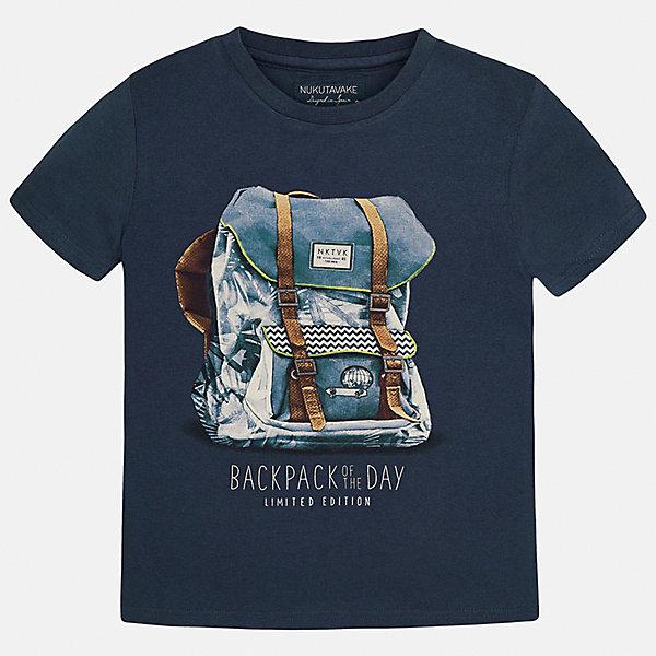 Футболка для мальчика MayoralФутболки, поло и топы<br>Характеристики товара:<br><br>• цвет: темно-синий<br>• состав: 100% хлопок<br>• круглый горловой вырез<br>• принт впереди<br>• короткие рукава<br>• отделка горловины<br>• страна бренда: Испания<br><br>Стильная футболка с принтом поможет разнообразить гардероб мальчика. Она отлично сочетается с брюками, шортами, джинсами и т.д. Универсальный крой и цвет позволяет подобрать к вещи низ разных расцветок. Практичное и стильное изделие! В составе материала - только натуральный хлопок, гипоаллергенный, приятный на ощупь, дышащий.<br>Одежда, обувь и аксессуары от испанского бренда Mayoral полюбились детям и взрослым по всему миру. Модели этой марки - стильные и удобные. Для их производства используются только безопасные, качественные материалы и фурнитура. Порадуйте ребенка модными и красивыми вещами от Mayoral! <br><br>Футболку-поло для мальчика от испанского бренда Mayoral (Майорал) можно купить в нашем интернет-магазине.<br>Ширина мм: 199; Глубина мм: 10; Высота мм: 161; Вес г: 151; Цвет: желтый; Возраст от месяцев: 144; Возраст до месяцев: 156; Пол: Женский; Возраст: Детский; Размер: 158,128,140,152,164; SKU: 3993343;