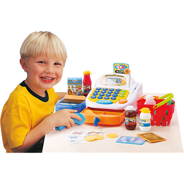 Набор Супермаркет, KeenwayДетский супермаркет<br>Фирма Keenway (Кинвэй) - известный производитель потрясающих наборов для сюжетно-ролевых игр. Малыши обожают ходить в магазин, с набором Супермаркет от Keenway (Кинвэй) можно создать целый магазин у себя дома. Главной особенностью игрушки является то, что помимо кассового аппарата в наборе есть множество интересных аксессуаров: продукты, корзинка, деньги, лента для продуктов и даже микрофон, который значительно усиливает голос. Кассовый аппарат снабжен экраном с функцией калькулятора: обучайте малыша счету играючи! Благодаря замечательному сканеру со светом и звуком маленький кассир быстро обслужит покупателей. Расплачиваться можно денежками и пластиковой картой, для которой в кассе тоже есть отделение. При проведении пластиковой карты раздается сигнал и выдвигается табличка об успешной операции. Денежки можно складывать в выдвигающийся ящичек, который закрывается на ключик. Собирайте друзей и играйте в супермаркет с помощью замечательного набора от Keenway (Кинвэй)!<br><br>Дополнительная информация: <br><br>- В комплекте: кассовый аппарат, муляжи продуктов, корзина для покупок, игрушечные деньги и банковская карта;<br>- Функция калькулятора;<br>- Звуковые эффекты;<br>- Дорожка для кредитки;<br>- Звуковой сканер;<br>- Потрясающий подарок;<br>- Тип батареек: 3 батарейки типа АА (в комплекте);<br>- Размер игрушки: 32 х 12 х 18 см;<br>- Размер упаковки: 21 х 35,6 х 16,5 см;<br>- Вес: 1,1 кг<br><br>Набор Супермаркет, Keenway (Кинвэй) можно купить в нашем интернет-магазине<br>Ширина мм: 345; Глубина мм: 200; Высота мм: 165; Вес г: 1200; Возраст от месяцев: 36; Возраст до месяцев: 84; Пол: Женский; Возраст: Детский; SKU: 4001680;