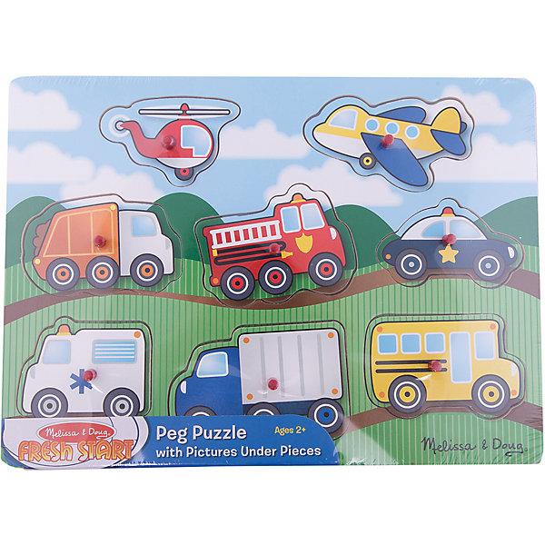 """Фотография товара рамка-вкладыш """"Транспорт"""" с кнопкой, 8 деталей, Melissa & Doug (4005800)"""