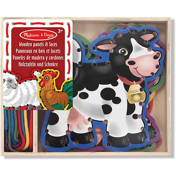Шнуровка Ферма, Melissa & DougРазвивающие игрушки<br>Шнуровка Ферма, Melissa  Doug (Мелисса и Даг) – это прекрасная развивающая, обучающая и полезная игрушка.<br>В комплект шнуровки Ферма входят пять двусторонних панелей в виде животных и пять разноцветных шнурков. Шнурки завязываются по краям фигурок животных, что учит ребенка обращению со шнурками, развивает мелкую моторику пальчиков и сенсомоторную координацию. Со шнуровкой «Ферма» в игровой форме ребенок освоит навыки шнурования, завязывание шнурка на бант, а также познакомится с животными, которые живут на ферме. Набор упакован в деревянную коробку.<br><br>Дополнительная информация:<br><br>- В наборе: 5 деревянных двухсторонних панелей в виде животных, живущих на ферме, с отверстиями для шнурования и 5 разноцветных шнурков<br>- Материал: дерево, текстиль<br>- Размер упаковки: 3х18х21 см.<br><br>Шнуровку Ферма, Melissa  Doug (Мелисса и Даг) можно купить в нашем интернет-магазине.