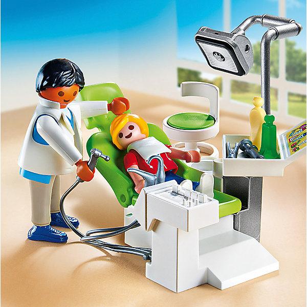 Детская клиника: Дантист с пациентом, PLAYMOBILПластмассовые конструкторы<br>Внимательный и тактичный детский стоматолог вылечит все зубки быстро и без боли. В набор входят 2 фигурки, из медицинское кресло, выглядящее в точности, как настоящее кресло стоматолога, лампа, бор-машина, многочисленные аксессуары, которые сделают игру еще реалистичнее и увлекательнее. Фигурки имеют подвижные конечности, в руки можно вложить различные предметы. Все детали прекрасно проработаны и выполнены из высококачественного экологичного пластика безопасного для детей. Играть с таким набором не только приятно и интересно - подобные виды игры развивают мелкую моторику, воображение, творческое мышление.<br><br>Дополнительная информация:<br><br>- 2 фигурки в наборе: врач, пациент. <br>- Комплектация: фигурки, кресло, бор-машина, лампа, аксессуары.<br>- Материал: пластик.<br>- Размер упаковки: 15х14,5х4 см.<br>- Высота фигурки: 7,5 см.<br>- Высота фигурки ребенка: 5,5 см.<br>- Голова, руки, ноги у фигурок подвижные.<br><br>Набор Детская клиника: Дантист с пациентом, PLAYMOBIL (Плеймобил), можно купить в нашем магазине.<br>Ширина мм: 149; Глубина мм: 147; Высота мм: 45; Вес г: 121; Возраст от месяцев: 48; Возраст до месяцев: 120; Пол: Унисекс; Возраст: Детский; SKU: 4012467;