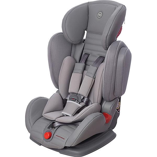 Автокресло Happy Baby Mustang, 9-36 кг, серыйГруппа 1-2-3  (от 9 до 36 кг)<br>Автокресло Mustang, 9-36 кг., Happy Baby (Хэппи Беби), серый – это безупречное качество, надёжность и комфорт для вашего ребенка.<br>Уникальность автокресла MUSTANG в том, что оно регулируется по ширине. <br>Глубокая усиленная боковая защита будет предохранять ребенка, в случае непредвиденных дорожных ситуаций. Анатомическая конструкция спинки и сиденья, позволяет использовать кресло даже в дальних поездках. Каркасный эргономичный подголовник обеспечит дополнительную безопасность и подарит комфорт, благодаря мягкому чехлу и многоступенчатой регулировке по высоте, в зависимости от роста ребёнка. Мягкий чехол автокресла и дополнительный дышащий матрасик-вкладыш создаёт дополнительный комфорт. <br>Кресло имеет 4 угла наклона и оснащено удобным механизмом регулировки. Пятиточечные ремни безопасности, регулируются, соответственно росту и весу ребёнка, снабжены центральным замком, благодаря которому родителям не составит никакого труда, как пристегнуть в кресле главного пассажира, так и отстегнуть. Замок оснащён защитным фиксатором, который предохраняет его от случайного расстёгивания.  Автокресло крепится с помощью трёхточечных ремней безопасности. В зависимости от возраста ребёнка устанавливается лицом по ходу или против движения автомобиля.<br><br>Дополнительная информация:<br><br>- Модель соответствует Европейским стандартам безопасности ECE R44/04, имеет высокие показатели краш-тестов<br>- Группа I-2-3<br>- Пятиточечные ремни безопасности с мягкими накладками<br>- Анатомическое сидение просторное и комфортное<br>- Регулируемый по высоте подголовник обеспечивающий защиту головы<br>- 4 положения наклона спинки<br>- Удобные подлокотники<br>- Анатомический вкладыш<br>- Пластиковые направляющие для автомобильных ремней безопасности<br>- Усиленная боковая защита<br>- Ребенок фиксируется внутренними ремнями безопасности (до 18 кг), штатными автомобильными ремнями безопасности (от 18 кг)<br>- Обивк