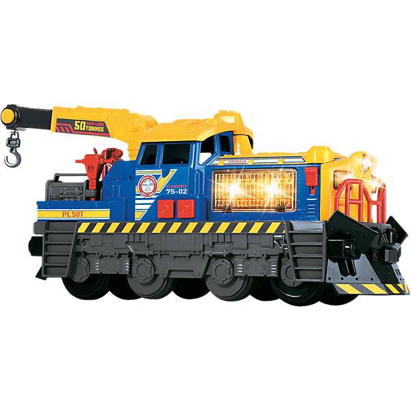 Локомотив Dickie Toys  со светом и звуком, 33 смЖелезные дороги<br>Характеристики товара:<br><br>• возраст: от 3 лет;<br>• материал: пластик;<br>• тип батареек: 2 батарейки АА;<br>• наличие батареек: в комплекте;<br>• длина игрушки: 33 см;<br>• размер упаковки: 42х25х15 см;<br>• вес упаковки: 1,05 кг.<br><br>Локомотив Dickie Toys — увлекательная игрушка для мальчиков. У локомотива поднимается и опускается стрела. Вращающийся подъемный кран оснащен крюком с тросом. Крюк опускается и поднимается нажатием кнопки. <br><br>Возле кабины водителя есть кнопки, активирующие световые и звуковые эффекты. На корпусе есть рычажок, который открывает отсек двигателя, сопровождая его звуками ремонта. Игрушка выполнена из качественного прочного пластика.