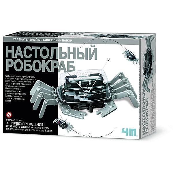 Набор для роботехники 4M Настольный робокрабПодарки для мальчиков<br>Характеристики товара:<br><br>• материал: пластик, металл <br>• в комплекте: 8 ног, 1 прозрачная крышка с винтом и шайбой, 1 двигатель с корпусом, 2 винта, 1 корпус батарее, 2 оси, 2 шестерни, металлическая проволока-антенна с двумя наконечниками, инструкция<br>• серия: Fun Science<br>• тип батареек: 1хАА<br>• наличие батареек: не входит в комплект<br>• упаковка: картонная коробка<br>• вес в упаковке: 230 г<br>• размер упаковки: 16,5х24х6 см<br>• страна бренда: США<br><br>Собранный робот ходит по столу, но при этом не падает и обходит края. Работает от батарейки, которая заставляет мотор крутиться. Движение распределяется по шестерням, которые поворачивают ролики, и игрушка приводится в движение. При сборке необходимо строго следовать инструкции, также она расскажет о принципе работы, как устроен механизм, почему он не падает и многие другие интересные факты. Набор разовьёт внимательность и усидчивость, научит навыкам конструирования и сборки по схеме.
