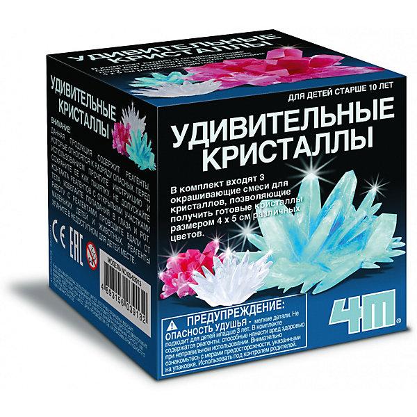 Удивительные кристаллы Мультицвет, 4МВыращивание кристаллов<br>Набор Удивительные кристаллы Мультицвет, 4М позволит Вашему ребенку  самостоятельно вырастить цветной кристалл. Техника выращивания кристаллов из данного набора достаточно проста: растворите химикаты в горячей воде и дайте остыть до комнатной температуры. Далее опустите кристаллики в этот раствор. Следующие несколько часов Вы сможете наблюдать, как начнут расти эти замечательные кристаллы. Через 4-7 дней юный исследователь станет обладателем кристалла размером примерно 4х5 см, который он сам вырастил! Данная серия наборов поможет собрать коллекцию кристаллов трёх разных цветов (белого, красного, голубого).<br><br>Комплектация:<br>-основа для кристалла<br>-смесь для выращивания кристалла<br>-пластмассовый бокс<br>-ложка<br>-подробная инструкция с интересными фактами<br><br>Дополнительная информация:<br>-В ассортименте: наборы для выращивания голубого, красного, белого кристаллов (заранее выбрать невозможно, при заказе нескольких возможно получение одинаковых)<br>-Вес в упаковке: 400 г<br>-Размеры в упаковке: 92х92х92 мм<br>-Размер кристалла: 40х50 мм<br>-Материал: смесь для выращивания кристалла, пластмасса<br><br>Научно-познавательный набор Удивительные кристаллы Мультицвет, 4М позволит Вашему ребенку сделать оригинальный эксперимент по выращиванию разноцветных кристаллов и познакомиться с такими науками, как химия и минералогия.<br><br>Набор Удивительные кристаллы Мультицвет, 4М можно купить в нашем магазине.<br>Ширина мм: 92; Глубина мм: 92; Высота мм: 92; Вес г: 400; Возраст от месяцев: 120; Возраст до месяцев: 168; Пол: Унисекс; Возраст: Детский; SKU: 4043562;