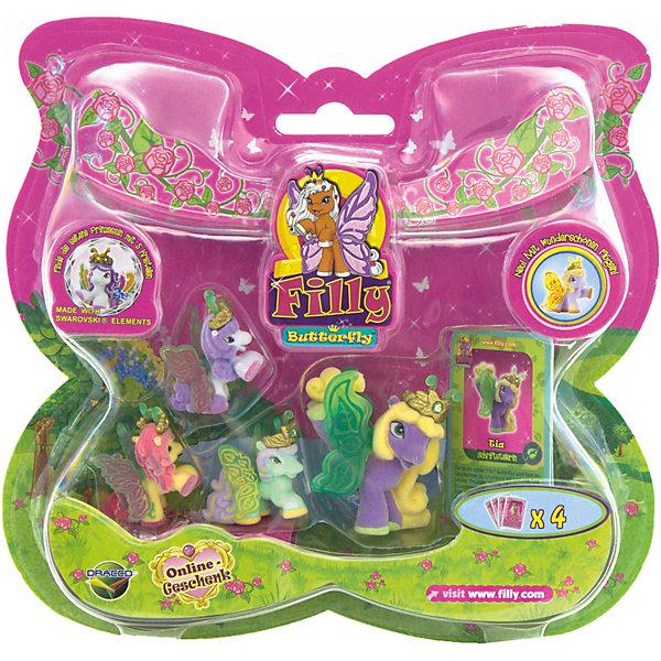 """Игровой набор Волшебная семья Tia, FillyКоллекционные и игровые фигурки<br>Большой игровой набор """"Волшебная семья"""" посвящен новым персонажам из мира лошадок Филли. Девочки придут в восторг от сразу четырех милых лошадок в одном наборе! Голову пони венчает мягкая корона, украшенная кристаллами Swarovski, за спиной у них - невероятные резные крылья с уникальным дизайном и изображением герба своего семейства. Яркие краски нанесены на крылышки тампонной печатью, поэтому, устойчивы к различному внешнему воздействию. Собери всех прекрасных лошадок и придумывай свои волшебные истории!<br><br>Дополнительная информация:<br><br>- Материал: пластик, флок.<br>- Размер лошадок: большая - 6 см (1 шт), маленькая: 3,5 см (3 шт).<br>- Комплектация: 4 лошадки, 4 карточки.<br><br>Игровой набор Волшебная семья Tia, Filly (Филли) можно купить в нашем магазине.<br>Ширина мм: 35; Глубина мм: 215; Высота мм: 205; Вес г: 127; Возраст от месяцев: 36; Возраст до месяцев: 84; Пол: Женский; Возраст: Детский; SKU: 4043633;"""