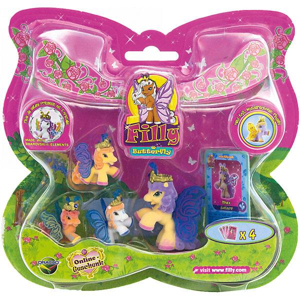 """Игровой набор Волшебная семья Max, FillyИгровые наборы с фигурками<br>Большой игровой набор """"Волшебная семья"""" посвящен новым персонажам из мира лошадок Филли. Девочки придут в восторг от сразу четырех милых лошадок в одном наборе! Голову пони венчает мягкая корона, украшенная кристаллами Swarovski, за спиной у них - невероятные резные крылья с уникальным дизайном и изображением герба своего семейства. Яркие краски нанесены на крылышки тампонной печатью, поэтому, устойчивы к различному внешнему воздействию. Собери всех прекрасных лошадок и придумывай свои волшебные истории!<br><br>Дополнительная информация:<br><br>- Материал: пластик, флок.<br>- Размер лошадок: большая - 6 см (1 шт), маленькая: 3,5 см (3 шт).<br>- Комплектация: 4 лошадки, 4 карточки.<br><br>Игровой набор Волшебная семья Max, Filly (Филли) можно купить в нашем магазине.<br>Ширина мм: 35; Глубина мм: 215; Высота мм: 205; Вес г: 127; Возраст от месяцев: 36; Возраст до месяцев: 84; Пол: Женский; Возраст: Детский; SKU: 4043638;"""