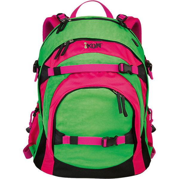 Рюкзак iKON, зелено-розовыйРюкзаки<br>Характеристики товара:<br><br>• возраст: от 10 лет;<br>• материал (состав): полиэстер;<br>• объем: 29 л.;<br>• ручка для переноски: да;<br>• водоотталкивающая пропитка: да;<br>• спинка: уплотненная мягкая;<br>• лямки: регулируемые по длине, мягкие воздухопроницаемые; <br>• дно: уплотненное;<br>• замок: молния;<br>• наполнение: нет;<br>• количество отделений: 2, карманов 3;<br>• сезон: круглогодичный;<br>• размер упаковки: 44х35х25 см.;<br>• вес: 1,1 кг.;<br>• упаковка: пакет.<br><br>Рюкзак iKON отличный выбор для современной активной молодежи.<br><br>У рюкзака эргономичная форма спинки с подкладкой из воздухопроницаемой ткани, мягкие плечевые лямки, регулируемые по длине, удобная ручка для переноски рюкзака.<br><br>Рюкзак имеет три отделения с отсеком для ноутбука, два боковых сетчатых кармана для емкостей с водой и органайзер с карманами для телефона, проездных и пластиковых карт, ручек, ключей в переднем кармане.<br><br>Молнии защищены от дождя. Мягкая набивка на спинке придает дополнительный комфорт и покрыта сетчатым материалом, который отлично пропускает воздух.<br><br>Имеются ремни для крепления скейтборда, куртки, наушников, спортивной обуви.<br><br>Рюкзак изготовлен из высококачественных материалов с учетом самых строгих требований по безопасности, легко чистится снаружи и внутри.<br><br>Рюкзак iKON можно купить в нашем интернет-магазине.<br>Ширина мм: 473; Глубина мм: 396; Высота мм: 248; Вес г: 1190; Возраст от месяцев: 96; Возраст до месяцев: 192; Пол: Унисекс; Возраст: Детский; SKU: 4046305;