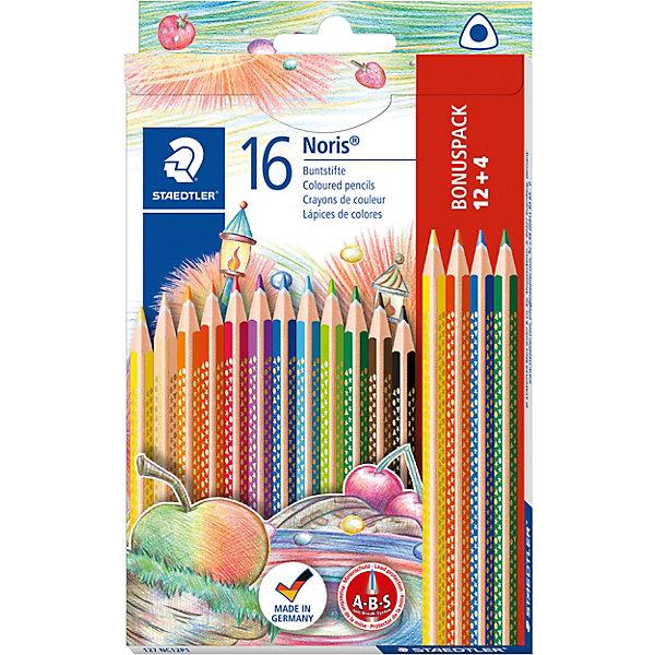 Купить Набор цветных карандашей Noris Club трехгранные, 12 цветов, 16 шт., Staedtler, Германия, Унисекс