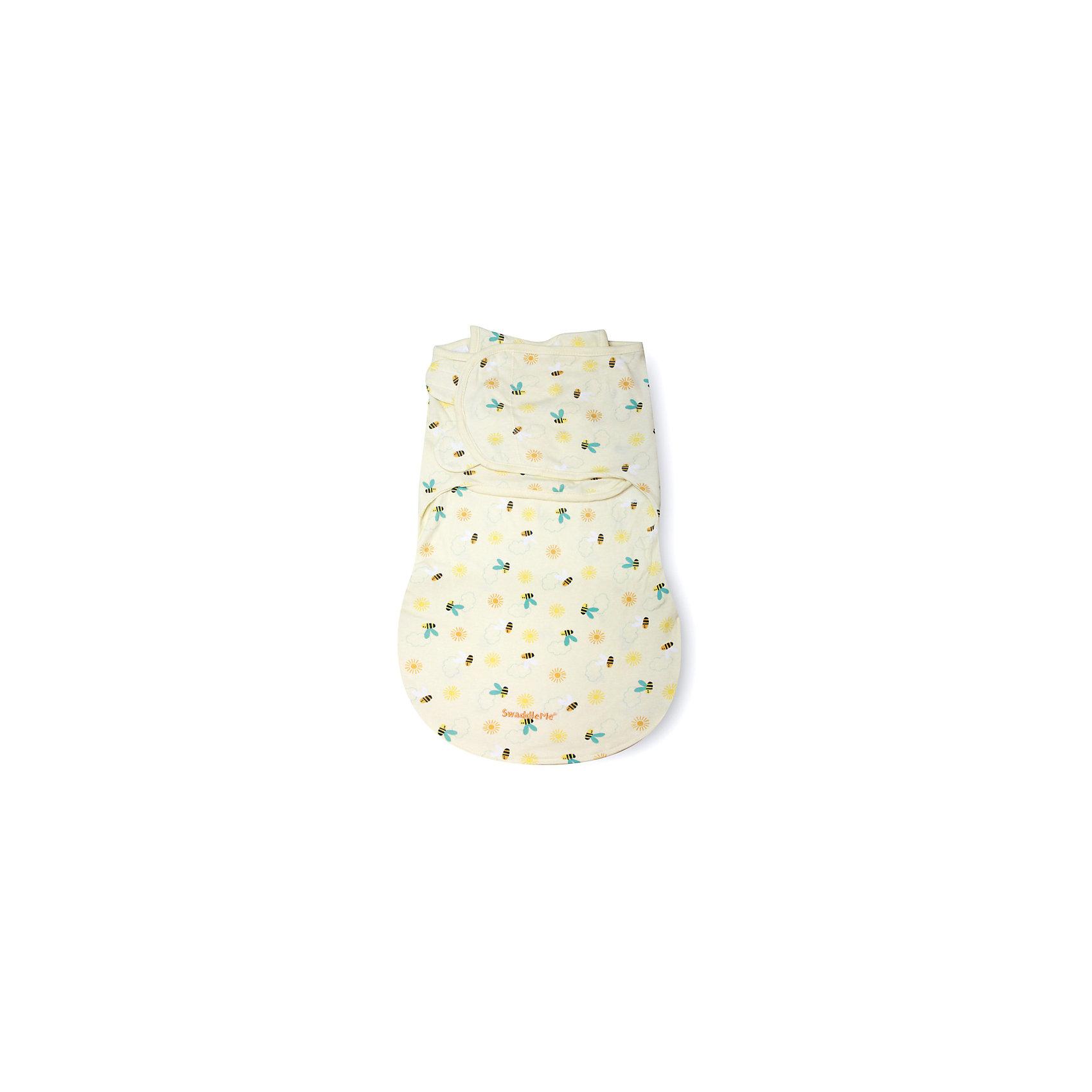 Конверт для пеленания SwaddleMe WrapSack, размер S/M, белый с пчелками