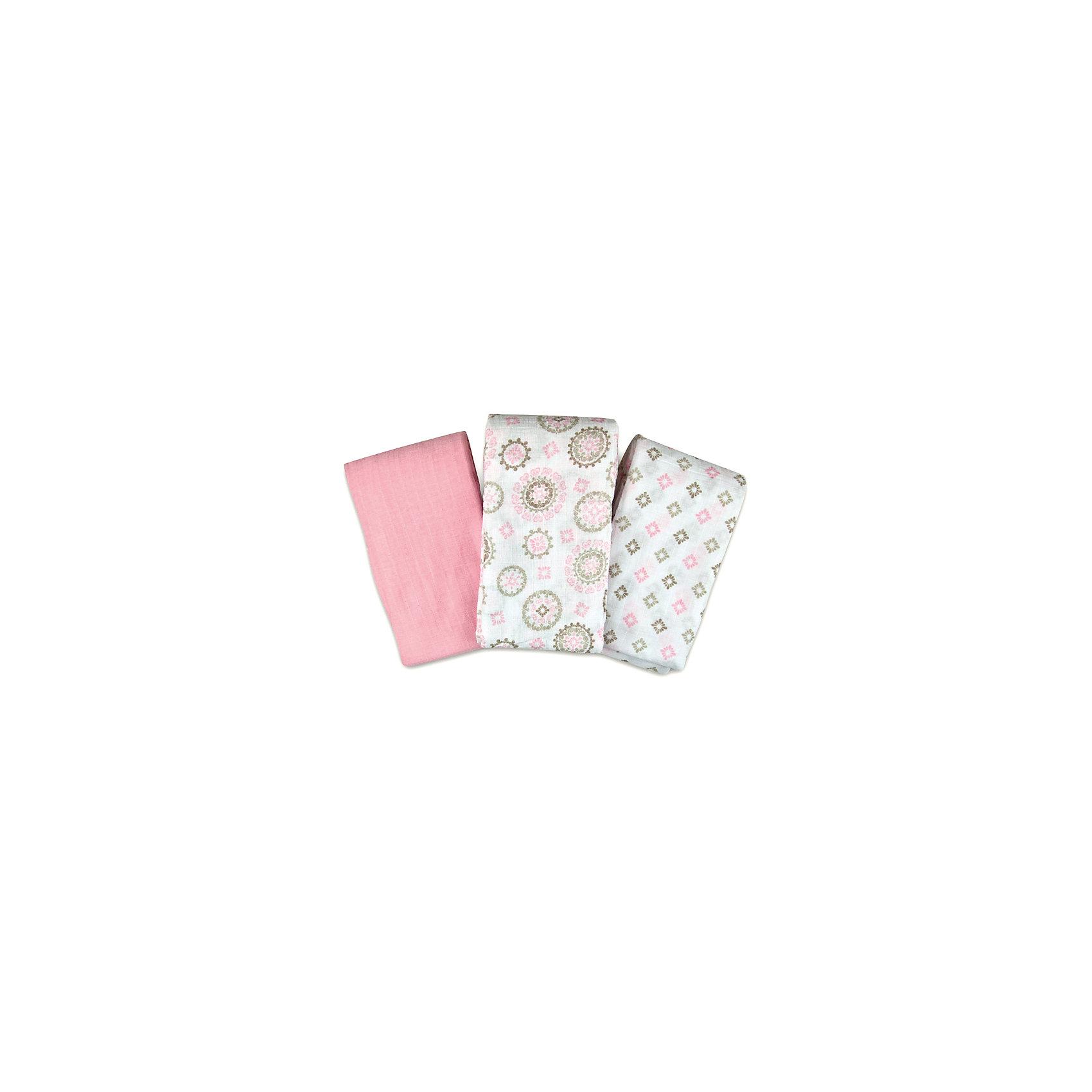 Набор пеленок  Summer Infant,  3 шт, розовые с орнаментом
