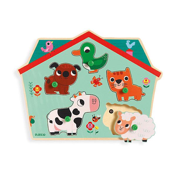 Звуковая рамка-вкладыш Ферма, DJECOПазлы для малышей<br>Музыкальный пазл «Ферма» способствует развитию мелкой моторики и речи. Рамка выполнена в виде симпатичного домика, внутри которого живут домашние животные: корова, овечка, собака, кот и уточка. Фигурки приятны наощупь и ярко раскрашены - малышу обязательно понравится играть с ними. Играя с этим пазлом, кроха узнает как разговаривают животные, научится распознавать их по внешнему виду и голосу. Игрушка выполнена из высококачественных гипоаллергенных материалов безопасных для детей. <br><br>Дополнительная информация:<br><br>- Материал: дерево. <br>- Размер: 28,5х21х2,5 см.<br><br>Звуковую рамку-вкладыш Ферма, DJECO (Джеко), можно купить в машем магазине.<br>Ширина мм: 285; Глубина мм: 210; Высота мм: 15; Вес г: 250; Возраст от месяцев: 12; Возраст до месяцев: 48; Пол: Унисекс; Возраст: Детский; SKU: 4051883;