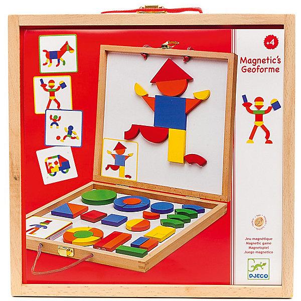 Развивающая магнитная игра Геоформ, DJECOОзнакомление с окружающим миром<br>Магнитная доска с набором магнитных фигур Геоформ - это удивительная игрушка, разработанная компанией Djeco для создания разнообразных персонажей и красочных фигур. Играя с деревянными деталями, дети могут складывать различные фигурки, менять их местами и создавать целые картины при помощи магнитов. Геоформ станет красивым и полезным подарком для ребенка. Доска - двусторонняя, представляет собой складывающийся деревянный чемоданчик. Внутри набора находятся металлическое поле и деревянные фигуры на магнитах. Детям будет интересно перебирать фигурки разных форм и цветов. Все детали хорошо крепятся к поверхности доски при помощи магнитов. В компактном деревянном чемоданчике можно хранить все детали, у него удобные ручки, поэтому, его можно брать с собой. Игра знакомит ребенка с формами и цветами, развивает фантазию и наглядно-образное мышление, мелкую моторику и координацию ребенка.  <br><br>Дополнительная информация:<br><br>- Материал: картон, дерево, магнит.<br>- Размер чемоданчика: 30х30х4 см. <br>- Комплектация: 42 деревянные детали, 24 карточки с примерами.<br><br>Развивающую магнитную игру Геоформ, DJECO (Джеко), можно купить в нашем магазине.<br>Ширина мм: 300; Глубина мм: 300; Высота мм: 45; Вес г: 275; Возраст от месяцев: 36; Возраст до месяцев: 84; Пол: Унисекс; Возраст: Детский; SKU: 4051887;