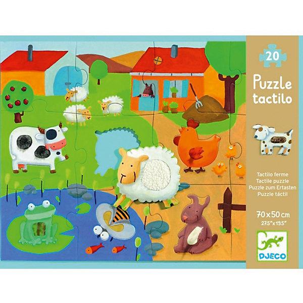 Пазл-гигант тактильный Ферма, 20 деталей, DJECOПазлы для малышей<br>Пазл-гигант тактильный «Ферма» от французской компании Djeco - оригинальная игрушка исключительного качества и дизайна, направленная на всестороннее развитие ребенка. Игра с пазлом развивает моторику, мышление, цветовосприятие и фантазию малышей. В комплект входит 20 больших деталей из плотного трехслойного картона. Детям предстоит собрать вместе все пазлы, чтобы в результате получилась красивая большая картинка с изображением забавной фермы. Детали, на которых изображены животные, имеют вставки из различных текстур, поэтому малышам будет особенно интересно изучать новых животных, используя также и тактильные навыки.<br><br>Дополнительная информация:<br><br>- Материал: картон.<br>- Размер готовой картины: 50х70 см.<br><br>Пазл-гигант тактильный Ферма, 20 деталей, DJECO (Джеко), можно купить в нашем магазине.<br>Ширина мм: 330; Глубина мм: 255; Высота мм: 60; Вес г: 350; Возраст от месяцев: 36; Возраст до месяцев: 72; Пол: Унисекс; Возраст: Детский; SKU: 4051896;