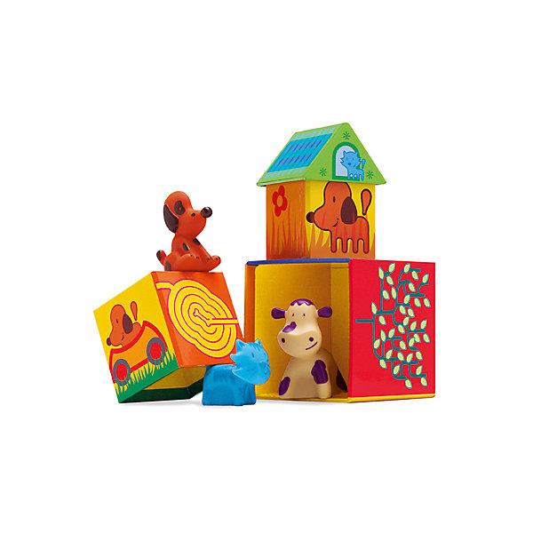 Набор Кубанимо ( 14 куб.+ 3 жив.) , DJECOОзнакомление с окружающим миром<br>Развивающий набор «Кубанимо» - красочная и увлекательная игра для самых маленьких. Малышу предоставляется возможность создать чудо - городок для забавных зверят. А затем,  можно поиграть в сюжетно-ролевую игру, главную роль в которой возьмет на себя ребенок. Домики выполнены из плотного яркого картона, фигурки животных резиновые, игрушки экологически безопасны, приятны для детских ручек, и способствуют развитию тактильных  ощущений. Набор для детского развития идеально подходит для игры вместе с другими детьми. <br><br>Дополнительная информация:<br><br>- Материал: картон, пластик, резина.<br>- Размер упаковки: 21х24х15 см.<br>- Комплектация: 3 фигурки, 14 кубиков, инструкция.<br>- Количество игроков: 1 - 3 <br><br>Набор Кубанимо ( 14 куб.+ 3 жив.) , DJECO (Джеко), можно купить в нашем магазине.<br>Ширина мм: 210; Глубина мм: 235; Высота мм: 150; Вес г: 260; Возраст от месяцев: 18; Возраст до месяцев: 36; Пол: Унисекс; Возраст: Детский; SKU: 4051902;