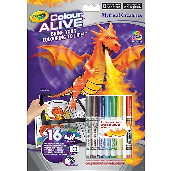 Интерактивная раскраска Colour Alive Драконы, CrayolaРаскраски для детей<br>Вдохни жизнь в свои рисунки вместе с новыми уникальными интерактивными книжками-раскрасками от Crayola (Крайола)!  <br><br>Как и обычная раскраска, интерактивная книжка-раскраска «Зачарованный лес» начинается с обычного листа бумаги. Создай уникальный дизайн персонажа на картинке, затем используй специальный карандаш, который разблокирует виртуальные эффекты в бесплатном приложении Color Alive на своём мобильном устройстве на базе Android или IOS, и чудесные герои зачарованного леса оживут! Теперь ты сможешь сфотографироваться вместе со своим творением или снять небольшое видео. Ведь каждый персонаж на одной из 16 страниц раскраски обладает своей уникальной анимацией и звуковыми эффектами. <br><br>Дополнительная информация:<br><br>В комплекте к интерактивной книжке-раскраске «Зачарованный лес», включающей 16 страниц, есть 6 цветных карандашей Crayola (Крайола) и один специальный карандаш Pixie Dust, который разблокирует виртуальные эффекты в приложении Color Alive.  <br><br>Удобные карандаши Crayola (Крайола) легко держать в руке, они созданы из экологически чистых материалов и безвредны для малыша. С помощью книжки-раскраски ребёнок развивает своё воображение и творческие навыки, а также тренирует мелкую моторику рук.<br><br>Интерактивную раскраску Colour Alive Драконы, Crayola (Крайола) можно купить в нашем магазине.<br>Ширина мм: 202; Глубина мм: 295; Высота мм: 10; Вес г: 140; Возраст от месяцев: 36; Возраст до месяцев: 108; Пол: Мужской; Возраст: Детский; SKU: 4055307;