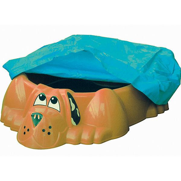 PalPlay Бассейн-песочница Собачка с покрытием, оранжевый, PalPlay бассейн для дачи в леруа мерлен