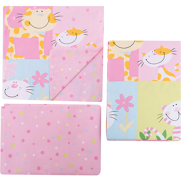 Baby Nice Детское постельное белье 3 предмета Baby Nice, Котята, розовый постельное белье для малышей baby nice наволочка baby nice 60х40