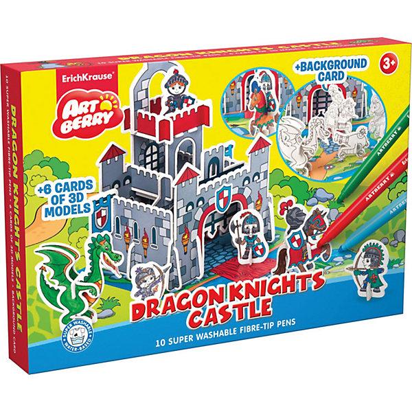 3D Раскраска Замок рыцарей Дракона, ArtberryНаборы для раскрашивания<br>3D Раскраска Замок рыцарей Дракона, Artberry (Артберри) создана специально для мальчиков, которые любят творчество. Он представляет собой набор карт-шаблонов с объемными деталями замка, рыцарей, дракона и прочими аксессуарами, которые необходимо раскрасить фломастерами и собрать по инструкции на игровом поле, а затем придумывать увлекательные истории про рыцарей.<br><br>Комплектация: 10 разноцветных фломастеров, 6 карт-шаблонов с фигурками животных и аксессуарами замка <br><br>Дополнительная информация:<br>-Вес в упаковке: 581 г<br>-Размеры в упаковке: 335х230х44 мм<br>-Материалы: картон, пластик, чернила<br><br>Набор 3D Раскраска Замок рыцарей Дракона доставит настоящую радость Вашему ребенку и откроет ему увлекательный и красочный мир творчества!<br><br>3D Раскраска Замок рыцарей Дракона, Artberry (Артберри) можно купить в нашем магазине.<br>Ширина мм: 335; Глубина мм: 230; Высота мм: 44; Вес г: 581; Возраст от месяцев: 36; Возраст до месяцев: 144; Пол: Унисекс; Возраст: Детский; SKU: 4058314;