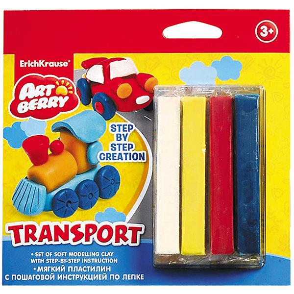 Пластилин мягкий 4цв+инструкция Transport Step-by-step Сreation ArtberryПластилин<br>Пластилин мягкий 4цв+инструкция Transport Step-by-step Сreation Artberry<br><br>Характеристики:<br><br>• В набор входит: 4 брусочка пластилина, инструкция<br>• Размер упаковки: 16,5 * 1,5 * 16 см.<br>• Вес: 97 г.<br>• Для детей в возрасте: от 3-х лет<br>• Страна производитель: Китай<br><br>Серия ArtBerry (Артберри) отличается натуральностью своих компонентов и повышенной безопасностью состава продукции специально для дошкольников. Пластилин этой серии изготовлен на основе кукурузного крахмала, легко разминается и не застывает на воздухе, в состав также входит вазелиновое масло, ухаживающее за ручками. <br><br>В этом наборе предлагается вылепить транспортные средства. Благодаря пошаговой инструкции ребёнок без труда сможет вылепить четырехцветный поезд и четырехцветную машину, в набор входят нужные для лепки цвета, для голубого цвета нужно будет смешать синий и белый цвета. Занимаясь лепкой дети развивают моторику рук, творческие способности, восприятие цветов и их сочетаний, а также лепка благотворно влияет на развитие речи, координацию движений, память и логическое мышление. Лепка всей семьей поможет весело и пользой провести время!<br><br>Пластилин мягкий 4цв+инструкция Transport Step-by-step Сreation Artberry можно купить в нашем интернет-магазине.<br>Ширина мм: 165; Глубина мм: 160; Высота мм: 15; Вес г: 97; Возраст от месяцев: 60; Возраст до месяцев: 216; Пол: Унисекс; Возраст: Детский; SKU: 4058317;