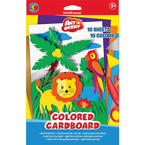 Erich Krause Цветной картон В5 (10 листов), Artberry цветная бумага бархатная в5 10л 10цв erich krause artberry