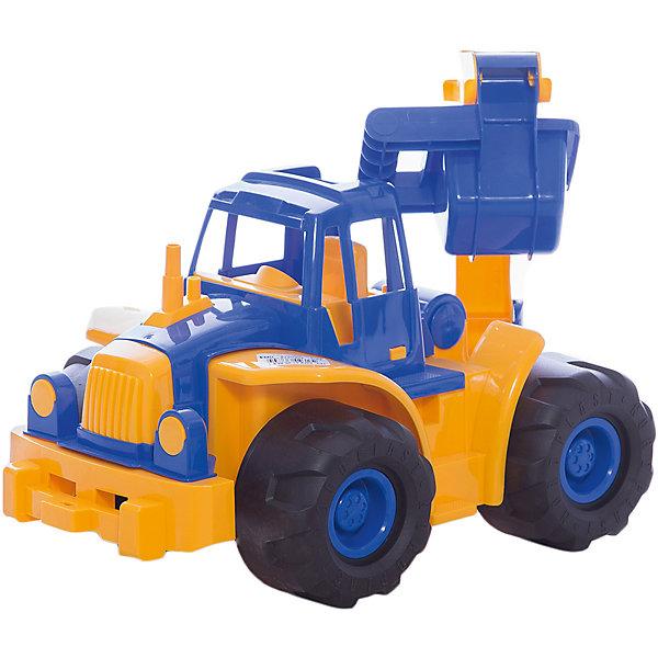 Нордпласт Трактор Богатырь с ковшом, Нордпласт машинки tomy трактор john deere 6830 с двойными колесами и фронтальным погрузчиком