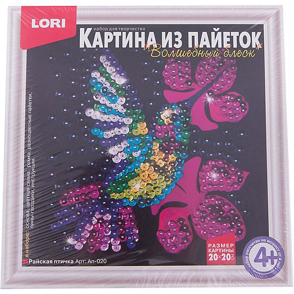 LORI Картина из пайеток Райская птичка, LORI картины своими руками lori аппликация картина из пайеток маленькая фея