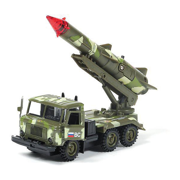 """Фотография товара машина ГАЗ 66: Ракета """"Военные силы"""", 1:43, со светом и звуком, ТЕХНОПАРК (4077251)"""
