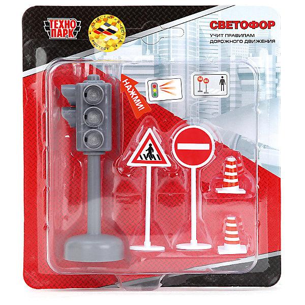 Игровой набор со светофором, 5 предметов, со светом и звуком, ТЕХНОПАРКДорожные знаки и коврики<br>Характеристики:<br><br>• тип игрушки: набор;<br>• возраст: от 3 лет;<br>• размер: 19х17,5х4,5 см;<br>•  масштаб: 1:43;<br>• режим работы: на батарейках;<br>• наличие батареек: входят в комплект;<br>• цвет: белый, серый, красный;<br>• материал: пластик, металл;<br>• бренд: Технопарк;<br>• страна производителя: Китай.<br><br>Игровой набор со светофором, 5 предметов, со светом и звуком может стать прекрасным дополнением коллекции юного автолюбителя. Набор выполняет две функции, первая из которых — это прекрасные аксессуары, которые помогут малышу более реалистично выстроить свою воображаемую дорогу во время игры, ведь чем реалистичнее получится шоссе, тем увлекательнее процесс. <br>Вторая — игрушка научит ребенка правилам дорожного движения, в частности — как переходить дорогу. В комплект включено 5 предметов: два дорожных знака, светофор и два столбика. На светофоре есть кнопочка, при нажатии на которую будут поочередно светиться фонарики и звучать предостережения. Детям будет интересно и познавательно играть в машинки, а родители смогут меньше беспокоиться о сохранности малыша.  <br>Игровой набор со светофором, 5 предметов, со светом и звуком можно купить в нашем интернет-магазине.<br>Ширина мм: 170; Глубина мм: 50; Высота мм: 190; Вес г: 110; Возраст от месяцев: 36; Возраст до месяцев: 144; Пол: Мужской; Возраст: Детский; SKU: 4082923;