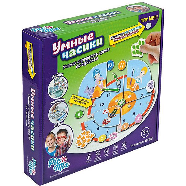 Игра Умные часики, PicnMixОзнакомление с окружающим миром<br>Характеристики:<br><br>• настольная игра для детей от 3 лет;<br>• 3 игровых сюжета;<br>• тип крепления деталей к игровому полю: липучки;<br>• элементы набора не боятся воды;<br>• в комплекте: 4 игровых поля, детали для крепления, пластиковый контейнер с крышкой, инструкция;<br>• материал: картон с напылением, пластик;<br>• размер упаковки: 25х16х5 см;<br>• вес: 300 г.<br><br>Настольная игра «Умные часики» из серии «Умные липучки» в игровой форме объясняет ребенку значение цифр, показатели времени, игра учит понимать, из каких частей состоит день. Игровые поля с липучками необходимо наполнить деталями из набора таким образом, чтобы картинки соответствовали друг другу. В процессе игры развивается логика, мелкая моторика, эрудиция и зрительное восприятие. <br><br>Игра настольная развивающая «Умные часики» ПикнМикс можно купить в нашем интернет-магазине.<br>Ширина мм: 250; Глубина мм: 160; Высота мм: 52; Вес г: 300; Возраст от месяцев: 36; Возраст до месяцев: 60; Пол: Унисекс; Возраст: Детский; SKU: 4089712;