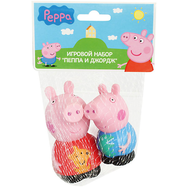 Игровой набор  Пеппа и Джордж 10 см, Свинка ПеппаИгровые наборы с фигурками<br>Пеппа и Джордж – это герои веселого мультфильма «Свинка Пеппа» (Peppa Pig). С их резиновыми фигурками малыш может увлеченно играть и дома, и на улице, и даже в ванне. Их яркая окраска улучшает цветовосприятие малютки, а приятная на ощупь поверхность развивает тактильные ощущения. И, конечно, игра с этими забавными игрушками отлично развивает фантазию малыша. <br><br>Дополнительная информация:<br><br>Игрушки выполнены из пластизоля и имеют высоту 10 см. <br><br>Игровой набор  Пеппа и Джордж 10 см, Свинка Пеппа (Peppa Pig)можно купить в нашем магазине.<br>Ширина мм: 90; Глубина мм: 50; Высота мм: 100; Вес г: 78; Возраст от месяцев: 36; Возраст до месяцев: 72; Пол: Унисекс; Возраст: Детский; SKU: 4102298;