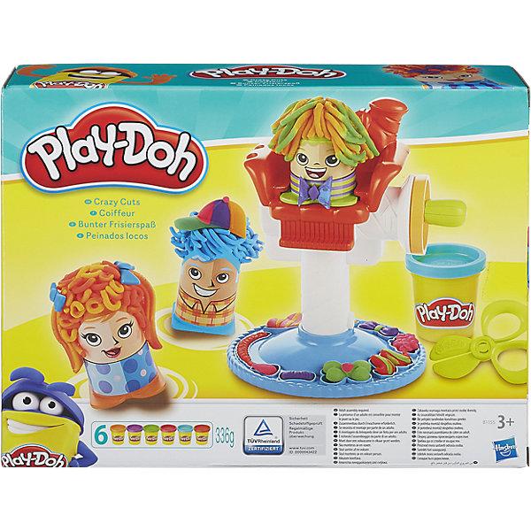 Игровой набор Сумасшедшие прически, Play-DohНаборы для лепки игровые<br>Интересный Игровой набор Сумасшедшие прически, Play-Doh (Плэй-До), с помощью которого Ваш ребенок поиграет в парикмахера, используя всеми любимый пластилин Плэй-До и разнообразные парикмахерские принадлежности! А помогут ему в этом три симпатичных персонажа с дырочками на голове.  Чтобы сделать прическу, необходимо положить в фигурку немного пластилина и посадить ее на кресло. Поверни рычаг и из головы фигурки вырастут волосы из пластилина. Дополнить прическу можно с помощью заколок, бантиков и косичек, также вылепленных из пластилина. А чтобы создать совершенно невероятные прически, используй различные насадки для головы.<br><br>Характеристики:<br>-Пластилин изготовлен из натуральных пищевых составляющих и абсолютно безвреден<br>-Пластилин не липнет к рукам, не пачкает одежду и имеет приятный запах<br><br>Комплектация: рабочее место из двух полуформ, 3 фигурки, 2 формы для укладки волос, 4 режущих инструмента, 6 баночек разноцветного пластилина<br><br>Дополнительная информация:<br>-Размер в упаковке: 20x30x8 см<br>-Материалы: пластик, пластилин<br><br>Создавай самые невообразимые прически вместе с Игровым набором Сумасшедшие прически! <br><br>Игровой набор Сумасшедшие прически, Play-Doh (Плэй-До) можно купить в нашем магазине.<br>Ширина мм: 303; Глубина мм: 228; Высота мм: 84; Вес г: 860; Возраст от месяцев: 36; Возраст до месяцев: 72; Пол: Унисекс; Возраст: Детский; SKU: 4108138;