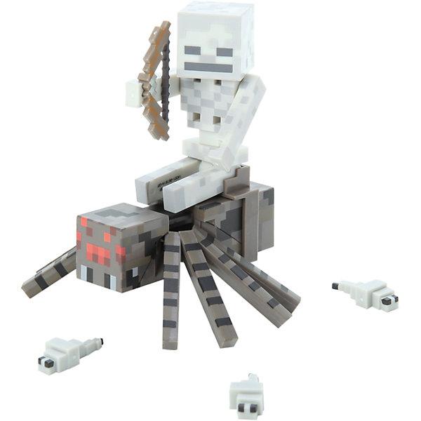 Фигурка Скелет с Пауком, 8 см, MinecraftКоллекционные и игровые фигурки<br>Фигурка Скелет с Пауком – прекрасный подарок для всех поклонников игры  Minecraft . Она объединяет в себе сразу двух мобов: скелета, который стреляет из лука, и паука. Игрушка выполнена из высококачественного пластика безопасного для детей. Собери всю коллекцию фигурок Майнкрафт!<br><br>Дополнительная информация:<br><br>- Материал: пластик.<br>- Высота фигурки: 8 см. <br>- Комплектация: скелет, паук, седло, лук и три червяка.<br>- Руки и ноги фигурки подвижные.<br><br>Фигурка Скелет с Пауком, 8 см, Minecraft (Майнкрафт), можно купить в нашем магазине.<br>Ширина мм: 235; Глубина мм: 210; Высота мм: 58; Вес г: 131; Возраст от месяцев: 72; Возраст до месяцев: 120; Пол: Мужской; Возраст: Детский; SKU: 4122546;