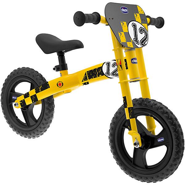 Беговел (рама 12), ChiccoБеговелы<br>Беговел (рама 12), Chicco (Чико) – это спортивный велосипед, помогающий развитию необходимого баланса для езды на двух колесах и переходу на обычный велосипед с педалями.<br><br>Характеристики:<br>-Сделан из высоколегированной стали<br>-Регулируемое сиденье под рост ребенка<br>-Нескользящее мягкое эргономичное сиденье<br>-Двойная кроссовая передняя вилка <br><br>Дополнительная информация:<br>-Рама: 12 дюймов<br>-Размеры: 81х48х57 см<br>-Вес: 5,4 кг<br>-Материалы: пластик, сталь, резина <br><br>Этот яркий и красивый беговел поможет Вашему ребенку упражняться в удержании равновесия, он отлично развивает координацию движений и делает ножки ребенку сильными и крепкими!<br><br>Беговел (рама 12), Chicco (Чико) можно купит в нашем магазине.<br>Ширина мм: 700; Глубина мм: 167; Высота мм: 460; Вес г: 5412; Возраст от месяцев: 36; Возраст до месяцев: 72; Пол: Мужской; Возраст: Детский; SKU: 4123493;