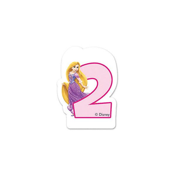 Procos Объемная свечка Рапунцель, 2 года, Принцессы Дисней procos свечи буквы принцессы disney сказочный мир happy birthday