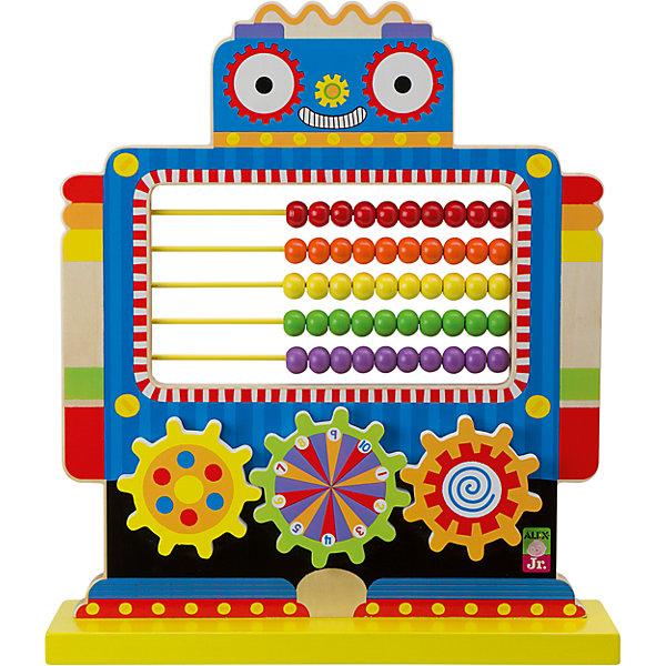 Игрушка Счеты Робот, ALEXМатематика<br>Красочный деревянный робот со счетами поможет ребенку быстрее освоить простейшие математические вычисления. У робота 50 костяшек пяти ярких цветов и 3 крутящихся колесика-шестеренки с нанесенными цифрами.<br>Игрушка развивает мелкую моторику, логическое мышление и обучает основам математики. <br><br>Дополнительная информация:<br><br>Размеры игрушки:  35 х 40 х 10 см.<br>Материал: дерево<br><br>Игрушка Счеты Робот, ALEX (Алекс) можно купить в нашем магазине.<br>Ширина мм: 350; Глубина мм: 400; Высота мм: 100; Вес г: 1801; Возраст от месяцев: 24; Возраст до месяцев: 72; Пол: Унисекс; Возраст: Детский; SKU: 4149438;