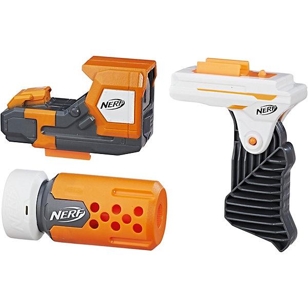 Сет 2 Специальный агент, NERF ModulusИгрушечные пистолеты и бластеры<br>Сет 2 Специальный агент, NERF Modulus – это игровой набор для усовершенствования бластеров серии Nerf Modulus.<br>Сет 2 Специальный агент - это то, что нужно, чтобы модернизировать бластер Nerf Modulus до уровня полноценной снайперской винтовки. Лазерный прицел питается от двух мизинчиковых батареек и обеспечивает точность прицеливания. Для того, чтобы надежнее удерживать бластер в руках, предназначена специальная откидная рукоятка, а бесшумности выстрелов и, как следствие, уменьшению вероятности обнаружения, служит надежный глушитель. Набор изготовлен из высококачественной пластмассы.<br><br>Дополнительная информация:<br><br>- В комплекте: световой прицел, мини-подставку для аккуратной стрельбы, глушитель<br>- Батарейки: 2 типа 1,5 V AAA LR03 (в комплект не входят)<br>- Материал: пластмасса<br>- Размер упаковки: 27 x 38 x 5 см.<br><br>Сет 2 Специальный агент, NERF Modulus (Нерф Модулус)можно купить в нашем интернет-магазине.<br>Ширина мм: 387; Глубина мм: 284; Высота мм: 60; Вес г: 459; Возраст от месяцев: 96; Возраст до месяцев: 144; Пол: Мужской; Возраст: Детский; SKU: 4156397;