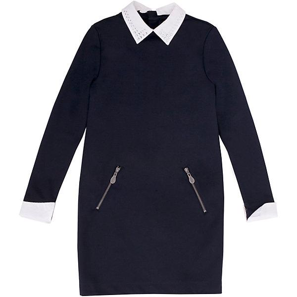 Платье GulliverПлатья и сарафаны<br>Платье для девочки от российской марки Gulliver.<br>Замечательное платье из трикотажного футера  - практичное комфортное решение на каждый день. Оно не стесняет движений,  имеет удобные карманы для хранения девичьих секретов. Съемные ворот и манжеты  упрощают уход за изделием, напоминая мамам их школьные годы, когда воротнички и манжеты нужно было отпарывать для замены. Мягкий округлый силуэт сарафана гарантирует отличную посадку на всех типах  детской фигуры. Состав и плотность трикотажного полотна придают ощущение добротности, долговечности вещи.<br>Состав:<br>72% полиэстер 24% вискоза             4% эластан<br>Ширина мм: 236; Глубина мм: 16; Высота мм: 184; Вес г: 177; Цвет: синий; Возраст от месяцев: 72; Возраст до месяцев: 84; Пол: Женский; Возраст: Детский; Размер: 122,140,152,158,146,128,134,164; SKU: 4174840;