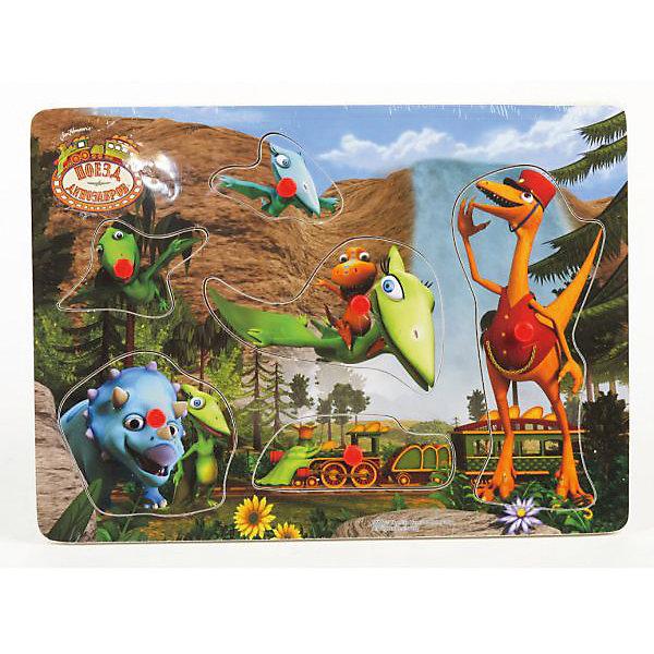 Играем вместе Деревянная рамка-вкладыш, 29*21 см, Поезд динозавров, Играем вместе играем вместе деревянная рамка вкладыш 29 21 см поезд динозавров играем вместе
