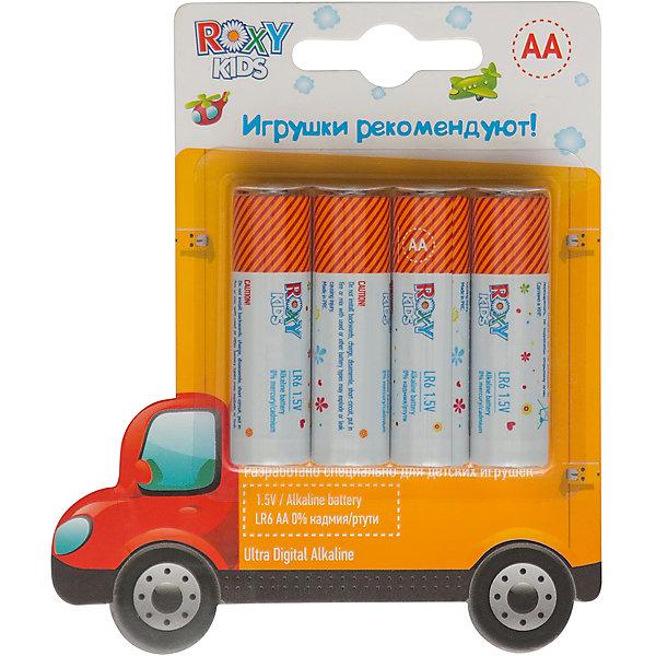Roxy-Kids Батарейки для игрушек, тип АА, 4 шт., Roxy-kids roxy kids силиконовая сеточка для ниблеров roxy kids