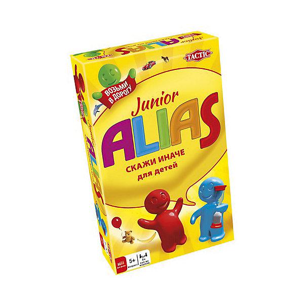 Игра Скажи иначе для малышей,  компактная версия 2, Tactic GamesТоп игр<br>Игра Скажи иначе (Alias) для малышей,  компактная версия 2, Tactic Games (Тактик Геймс) – это увлекательная игра мини-формата для малышей.<br>Это обновленная компактная версия любимой игры Alias (Скажи иначе), развивающей скорость реакции, внимательность и значительно улучшающая словарный запас малышей. Игра «Скажи иначе» для малышей стала еще разноцветнее, а на карточках появились новые увлекательные задания и слова для разгадывания! Компактная версия игры позволит брать ее куда угодно: в любое путешествие, поездку на природу или в гости. Играть можно и при дефиците свободного места, ведь в компактном варианте отсутствует игровое поле и фишки. Теперь не придется искать стол или другую ровную поверхность для игры. Особенность данной версии заключается в том, что слова на карточках не только написаны, но и изображены, это позволяет играть в нее даже детям, которые еще не умеют читать. Сложность заданий подобрана таким образом, чтобы самый маленький участник смог как объяснить, так и угадать слово, изображенное на карточке. Дети с удовольствием поиграют в Alias (Скажи иначе), игра надолго увлечет юных эрудитов. Малышам нравится выигрывать, поэтому они с огромным рвением будут выполнять задания и зарабатывать очки для своей команды. Например, предстоит объяснить слово, используя антонимы и синонимы или звукоподражание. Кажется все так-то просто, но песок в песочных часах неумолимо просыпается вниз! Играйте вместе с малышами и веселитесь от души! Все детали игры безопасны и сделаны из материалов высокого качества.<br><br>Дополнительная информация:<br><br>- В комплекте: игровой блокнот, 50 двухсторонних карточек, карандаш, песочные часы для отсчета времени хода, подробные правила на русском языке<br>- Количество игроков: от 4 человек<br>- Возраст: от 5 лет и старше<br>- Время игры: более 30 мин.<br>- Материал: картон, пластик<br>- Размер коробки: 11 х 18 х 3,6 см.<br>- Вес: 183 гр.<br><br>Игру Ска